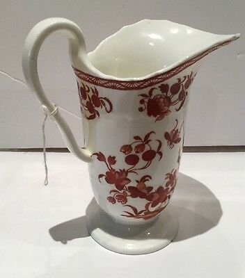 Antique Porcelain Helmet Jug, Unmarked. Red And White Insects And Floral