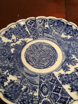 Chinese Scalloped Edges Plate With Wall Hanger, Mid 1800s Oriental Blue & White