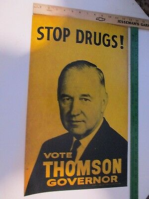 "STOP DRUGS! Vtg. POSTER Meldrim  THOMSON Governor Political 21""x12.5"""