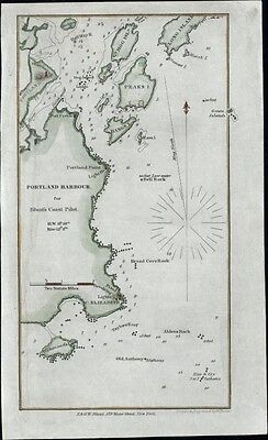 Portland Maine Cape Elizabeth c.1827-40 antique engraved nautical map hand color