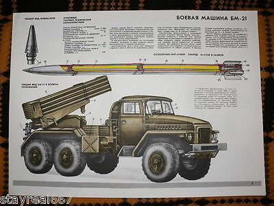 Authentic Soviet USSR military Cold War Poster Missile Louncher BM-21