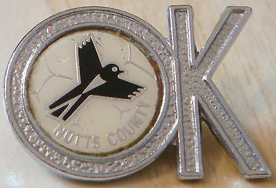 NOTTS COUNTY Vintage 1970s 80s insert type badge Brooch pin Chrome 29mm x 21mm