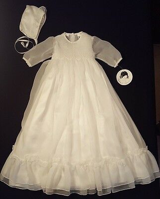 NEW Sarah Louise Ivory Smocked Christening Gown & Bonnet 3 Months -Retails $125!