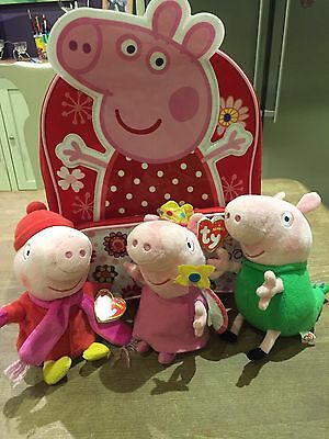 3 Peppa Pig Ty Beanies (Soft Toys) And Rucksack