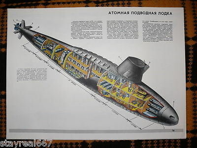 Authentic Soviet Cold War Navy Military Propaganda Poster - Nuclear Submarine