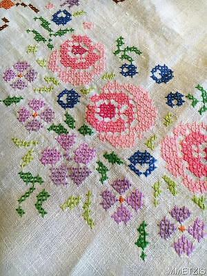 Vintage Linen Embroidered Cross Stitch Tablecloth  Flowers Roses