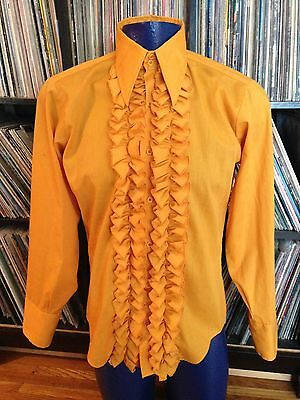 Vtg 70s Men's Tuxedo Shirt Ruffled Lace Mustard Yellow Tux Button Up Shirt M
