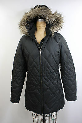 Womens Eddie Bauer Goose Down Puffer Quilted Parka Faux Fur Hooded Jacket sz M