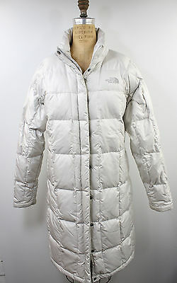 Womens The North Face white 600 goose down quilted puffer parka jacket long sz L