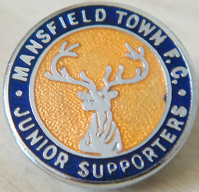 MANSFIELD TOWN FC Rare vintage JUNIOR SUPPORTERS CLUB Badge Brooch pin 22mm Dia