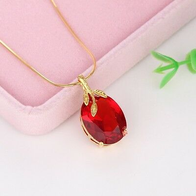 "New 18k Yellow Gold Filled Women Red Pendant 18"" Fashion Chain Free Shipping"