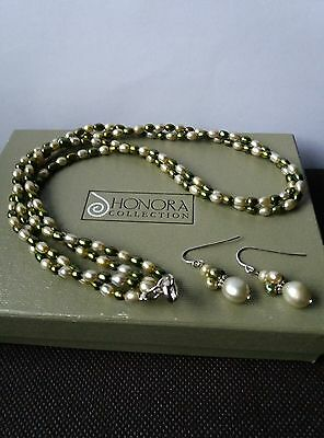 Honora Sterling Silver 2 Strand Pearl Necklace And Earring Set.