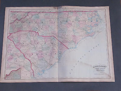 1873 Asher and Adams North Carolina South Carolina Map