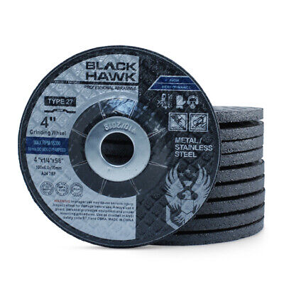 "50 Pack - 4"" x 1/4"" x 5/8"" Black Hawk Grinding Wheels T27 Discs for Metal"