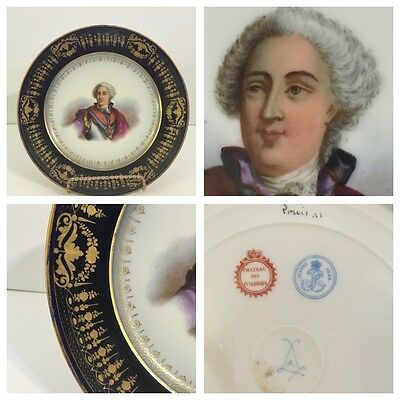 19th C. Sevres Cabinet Plate - King Louis XV - Chateau des Tuileries - 1844