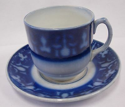 Keller And Guerin Luneville France Flow Blue Cup And Saucer