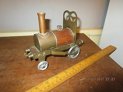 Scratchbuilt /one off / Trench Art Brass and wood Steam Engine - 17cm long .