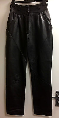 """Vintage High Waisted Black Genuine buttery soft Leather Trousers size 10 - 24""""W"""