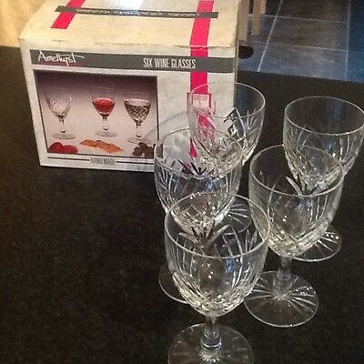 5 x TIENSHAN Handcrafted amethyst Wine Glasses. BOXED