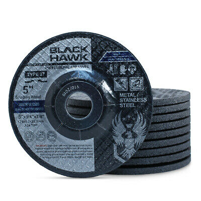 "50 Pack - 5"" x 1/4"" x 7/8"" Black Hawk Grinding Wheels T27 Discs for Metal"