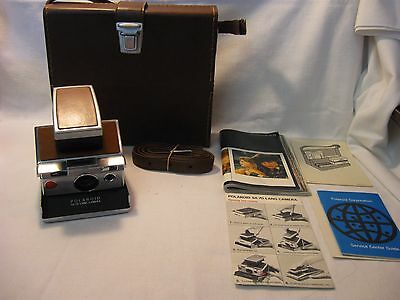 Polaroid SX 70 Land Camera with Tan Leather Case, Instructions and Paperwork