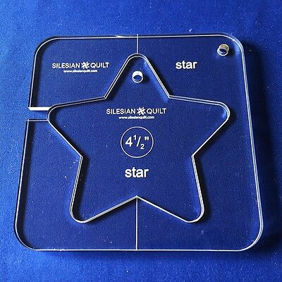 """Quilting Template: STAR 4.5"""" (template fits to FMQ GRIP 5)"""