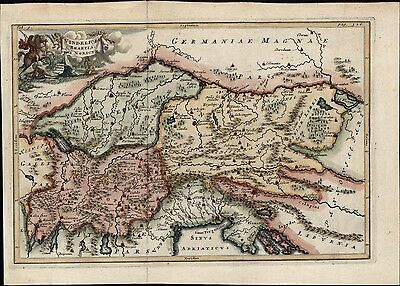 Germany Austria Hungary Italy Balkans c.1763 antique decorative map hand color
