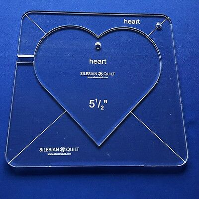 """Quilting Template: HEART 5.5"""" (template fits to FMQ GRIP 7)"""