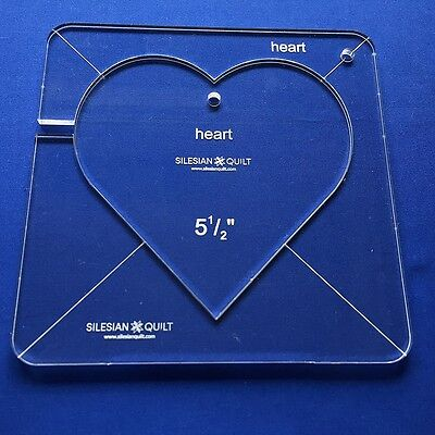 """Template für Quilting: HEART 5 1/2"""" (template fits to FMQ GRIP 7)"""