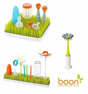 Boon Grass Baby Bottle Countertop Drying Rack Utensils Green Lawn Kitchen