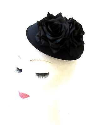 Black Rose Flower Pillbox Hat Fascinator Headpiece Races Ascot Vintage Hair 1968