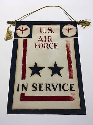 Original WWII USAAF TWO STAR IN SERVICE SON IN AIR FORCE Window Banner Flag