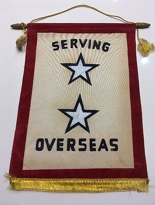 Original WWII U.S. TWO STAR IN SERVICE SON IN MILITARY Window Banner Flag