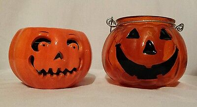 Pair of Pumpkin  Candle Holders  Halloween one glass& porcelain