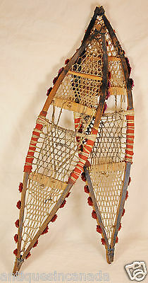 """Antique Ojibwa CHILD's carved snowshoes Cree Aagimug Chippewa Primitive 26"""" long"""