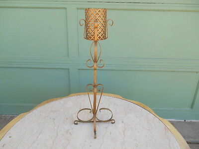Vintage Hollywood Regency Mid Century Pierced Metal Tall Gold Candle Holder