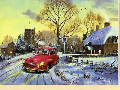 Morris Minor Saloon At Cross Keys Inn--Christmas Print Card--Kevin Walsh