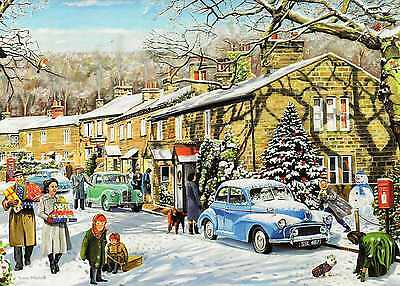 Morris Minor Saloon & Austin--Christmas Print Card--Trevor Mitchell