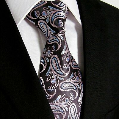 New Shine Men Blue Pink Silver Paisley Floral Designer 100% Silk Tie Classic