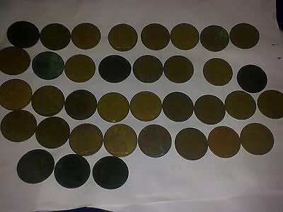 35 old one penny coins and one