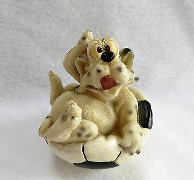 """Dalmatian Dog Soccer Ball Player Figurine Statue Collectible 4"""" Sports Puppy"""