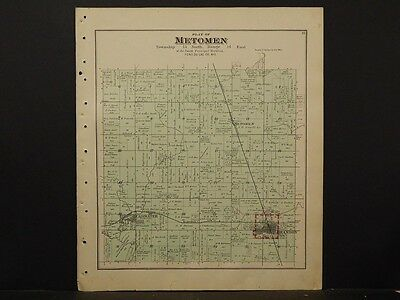 Wisconsin, Fond Du Lac County Map, Metomen Township,  1893 Double Sided J4#61