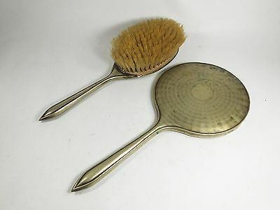 Vintage EPNS machine turned silver plated mirror and brush hairbrush vanity set