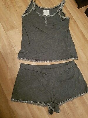 Next pyjama shorty set size 16 in grey and silver