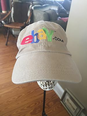 Official eBay EBAY.COM Embroidered Ball Cap Hat Strapback Khaki Twill Great Cond