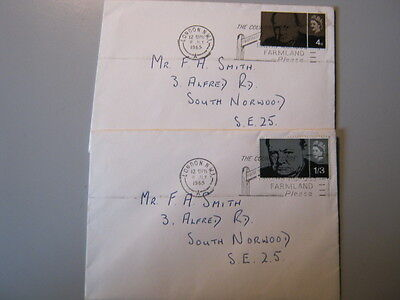 GB FIRST DAY COVERS x 2 CHURCHILL 8 JULY 1965 with COUNTRY CODE SLOGAN STRIKES
