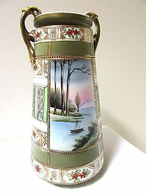 "Big 12"" Antique Japanese Vase Handpainted Porcelain Moriyama Moriage Gold Gilt"