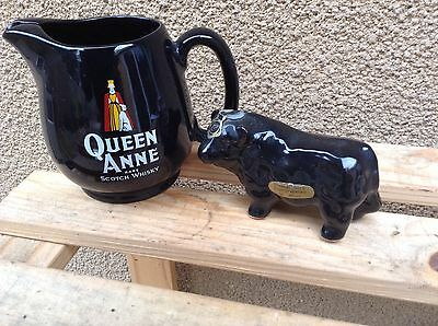 Scotch Whisky Water Jug Queen Anne Whisky Wade + Rutherfords Bull Minature