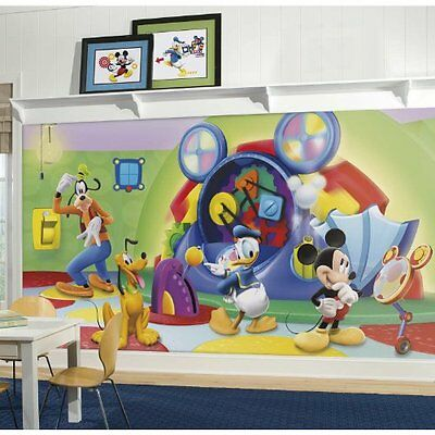 RoomMates Mickey & Friends Clubhouse Capers Chair Rail Prepasted Mural...NEW