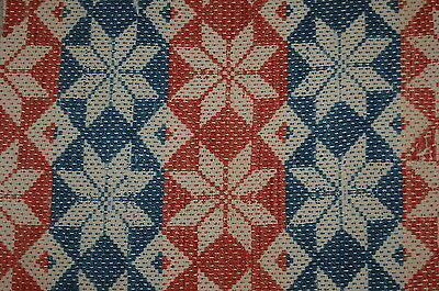 Antique Red Blue Star Woven Coverlet Repurpose  Piece